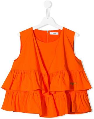 MSGM Kids tiered ruffled top