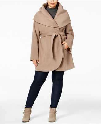 T Tahari Plus Size Marla Wrap Coat $420 thestylecure.com