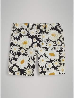 Burberry Daisy Print Cotton Chino Shorts