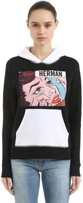 Sad Girl Print Hooded Cotton Sweatshirt
