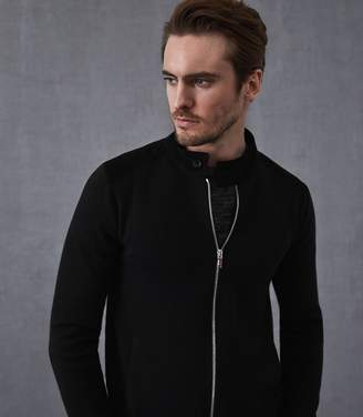 Reiss Our last order date for Christmas has now passed ROCKSTAR SUEDE TRIM ZIP THROUGH JUMPER Black