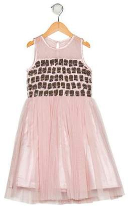 Derhy Kids Girls' Mesh Beaded Dress