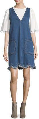 See by Chloe Scalloped Denim Jumper Dress