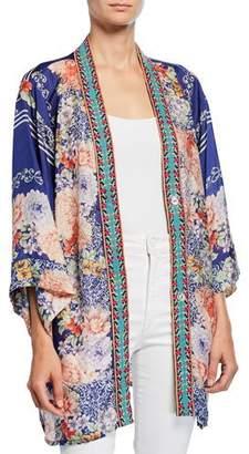 Johnny Was Plus Size Blati Printed Silk Shorter Kimono with Embroidered Trim
