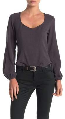 Anama Woven Long Sleeve Cutout Back Top