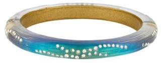 Alexis Bittar Crystal Studded Lucite Hinged Bangle