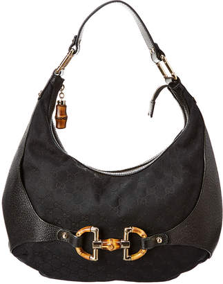 Gucci Black Gg Canvas & Leather Amalfi Hobo Bag