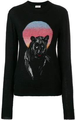 Saint Laurent panther jacquard knit jumper