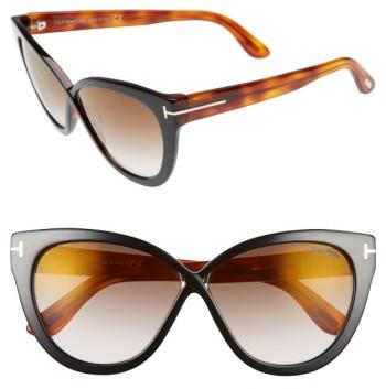 Women's Tom Ford Arabella 59Mm Cat Eye Sunglasses - Black/ Havana/ Brown Flash