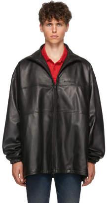 Balenciaga Black Leather Zip-Up Track Jacket