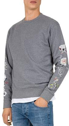 The Kooples Embroidered-Sleeve Crewneck Sweatshirt