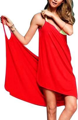 e92268799c2 Baonmy Sexy Women Spaghetti Strap Bikini Cover Up Beach Backless Wrap Dress