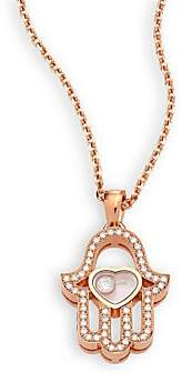 Chopard Women's Happy Diamonds Pave Hamsa Hand Diamond & 18K Rose Gold Pendant Necklace
