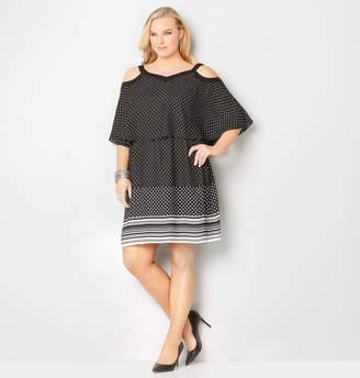 Avenue Polka Dot Ruffle A-Line Dress