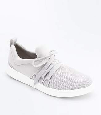 New Look Grey Fishnet Front Lace Up Jogging Trainers