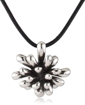 Zina Sterling Fireworks Pendant Necklace In Oxidized Sterling On Leather Cord