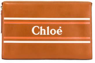 Chloé Logo & Stripes Pouch in Caramel   FWRD