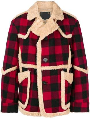 R 13 shearling-lined plaid jacket