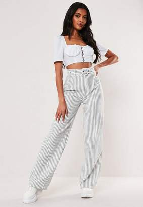 Missguided White Stripe Linen Look Wide Leg Pants