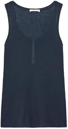 Skin - Whitney Waffle-knit Cotton Pajama Top - Midnight blue