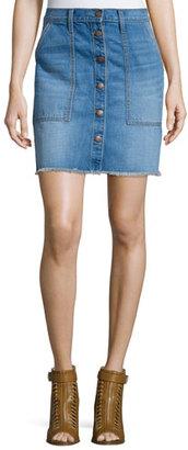 Current/Elliott The Naval Denim Skirt, Blue Collar $228 thestylecure.com