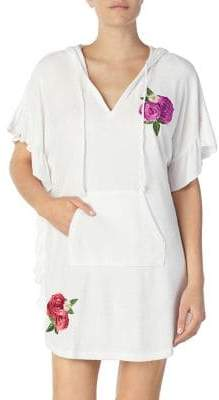 Betsey Johnson Short-Sleeve Floral Hooded Tunic