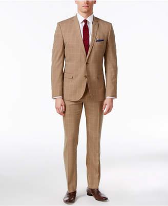 Nick Graham Men's Slim Fit Stretch Tan Windowpane Suit $395 thestylecure.com