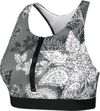 Running Bare Arabesque Zip Front Crop Top