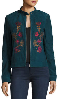 Neiman Marcus Leather Collection Floral-Embroidered Suede Moto Jacket