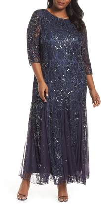 Pisarro Nights Beaded Lace Gown