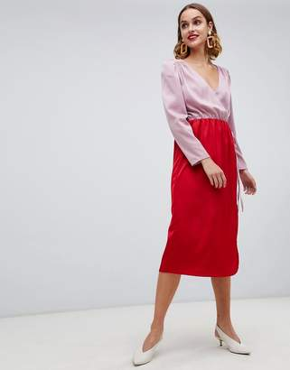 Warehouse wrap midi dress with tie detail in color block