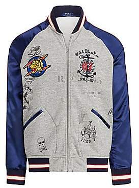 Polo Ralph Lauren Men's Vintage Fleece Satin Sleeve Baseball Jacket