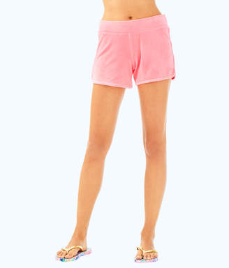 """Lilly Pulitzer Womens 4"""" Robyn Solid Velour Lounge Short"""