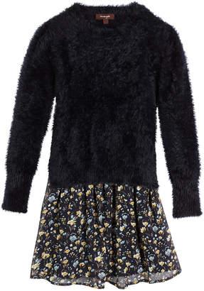 Imoga Fancy Yarn Sweater & Floral Chiffon Dress Set, Size 2-6