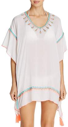 Surf Gypsy Embroidered Poncho Swim Cover-Up