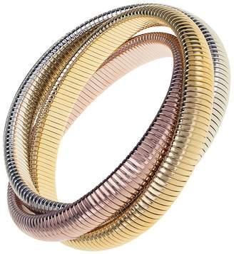 Janis Savitt High Polished Rhodium, Yellow and Rose Gold Triple Cobra Bracelet