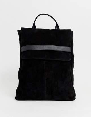 Asos Design DESIGN suede belted flap backpack