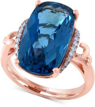 Effy London Blue Topaz (10-9/10 ct. t.w.) & Diamond (1/6 ct. t.w.) Ring in 14k Rose Gold
