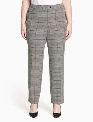Calvin Klein plus size modern fit straight leg glen plaid pants