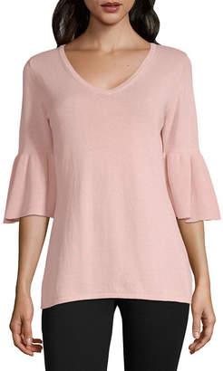 Liz Claiborne 3/4 Sleeve V Neck Pullover Sweater