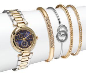 Crystal Bracelet Watch & Bangle Bracelet Set $125 thestylecure.com