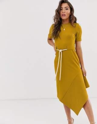 Asos Design DESIGN textured midi dress with asymmetric hem and rope belt