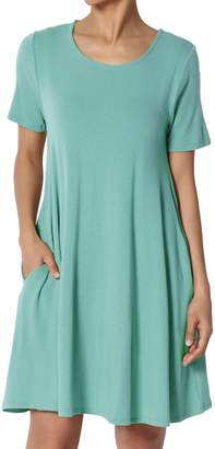 TheMogan Women's Round Neck Short Sleeve Pocket Flared Long Tunic Top 2XL