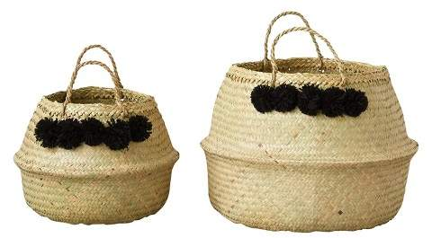 3R Studios Round Wicker Collapsible Baskets (13.75