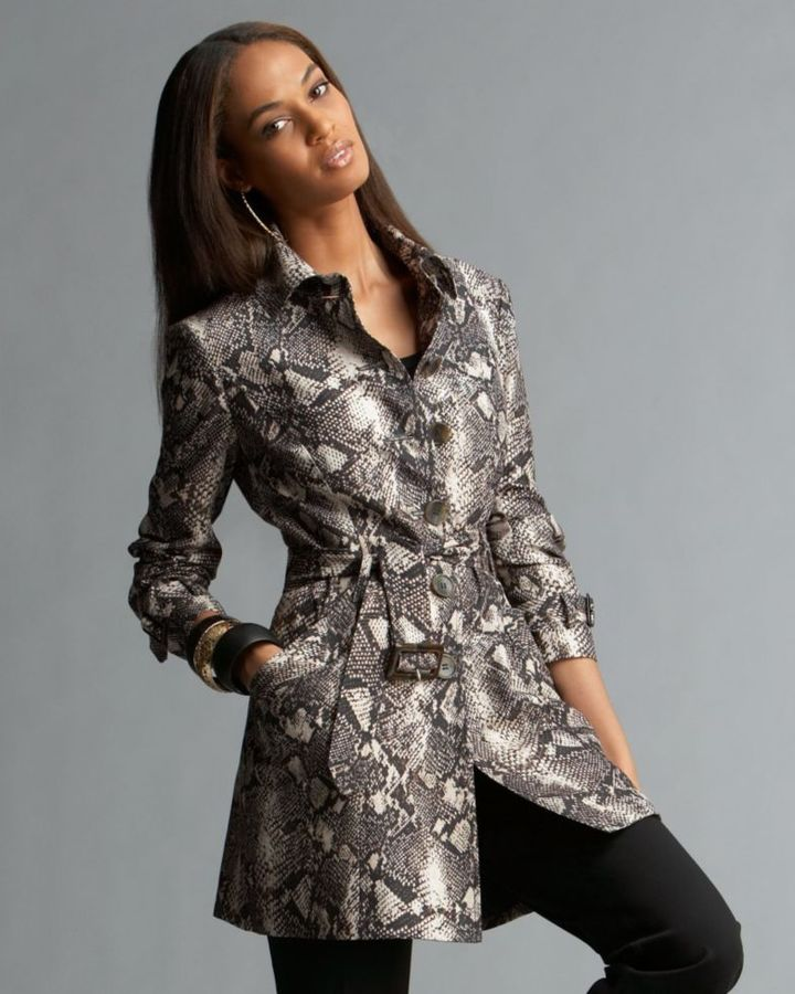 INC International Concepts Belted Python Print Trench Coat