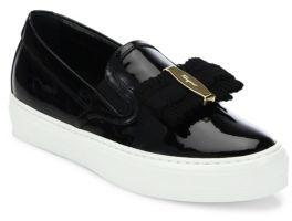 Salvatore Ferragamo Pacau Gros Patent Leather Skate Sneakers $475 thestylecure.com