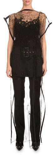 Givenchy Givenchy Bateau-Neck Embroidered Long Tunic, Black