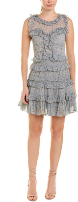 Rebecca Taylor Ruffled Tie-Waist Silk A-Line Dress