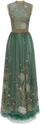 Costarellos Embroidered Tulle Gown