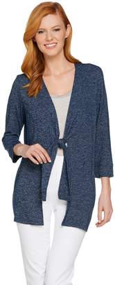 Halston H By H by Super Soft Knit 3/4 Sleeve Tie Front Cardigan